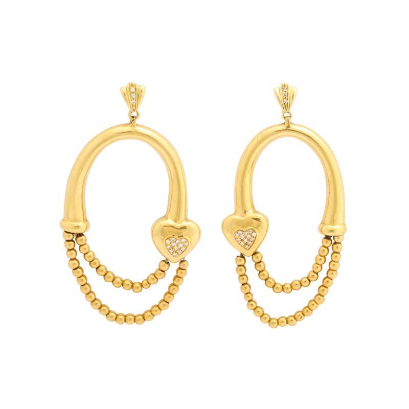 18k drop hoop earrings