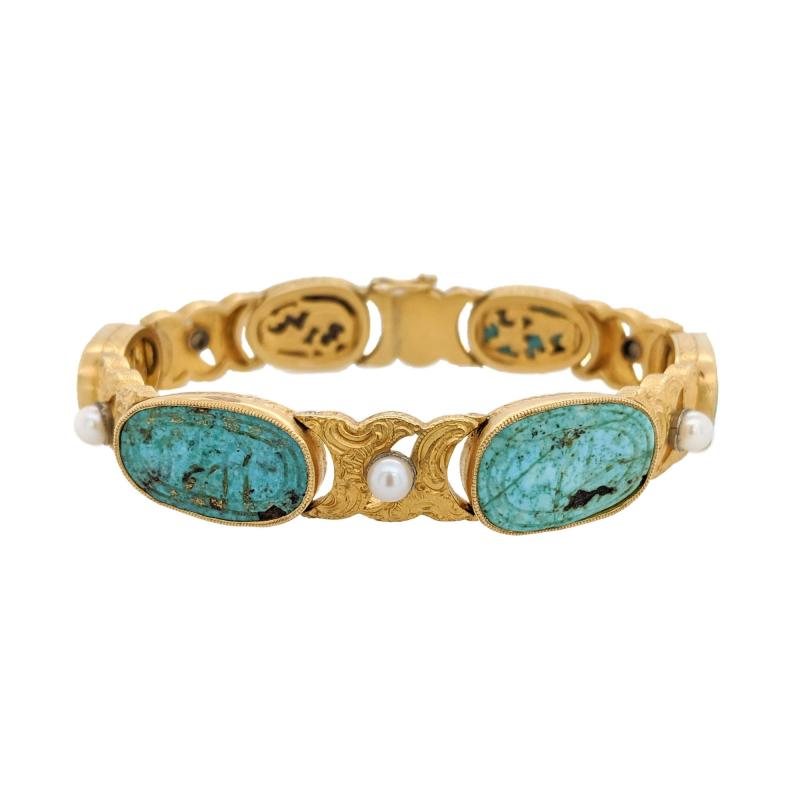 18kt Gold Pearl Carved Turquoise Engraved Bracelet