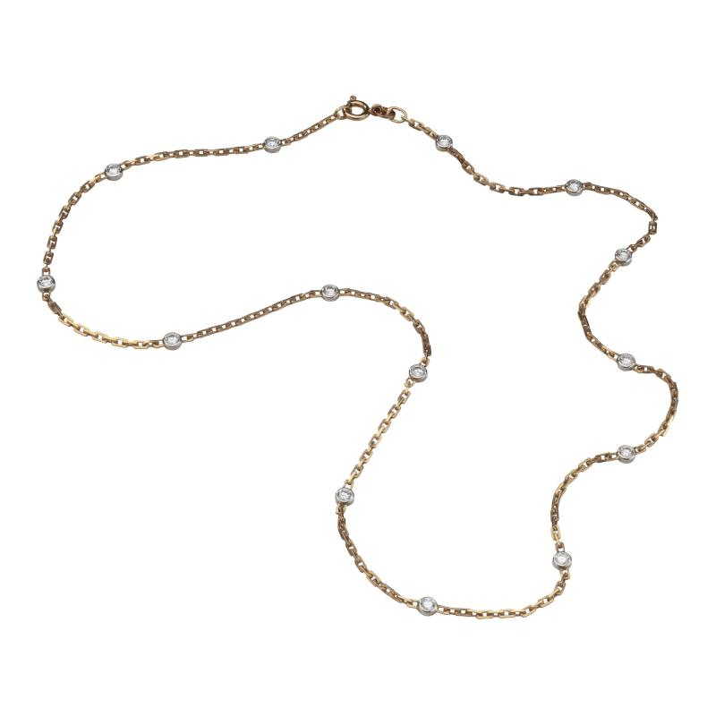 18kt White Yellow Gold Chain with Diamonds