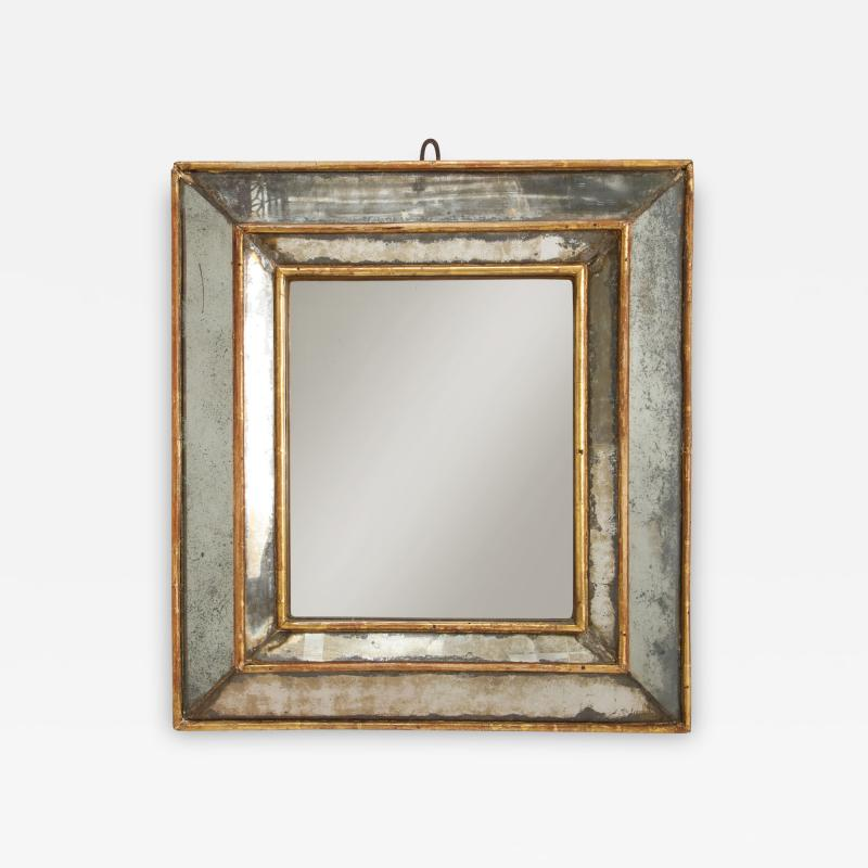 18th C Gold Leaf Mirrored Framed Mirror with Original Glass Lombardy Italy