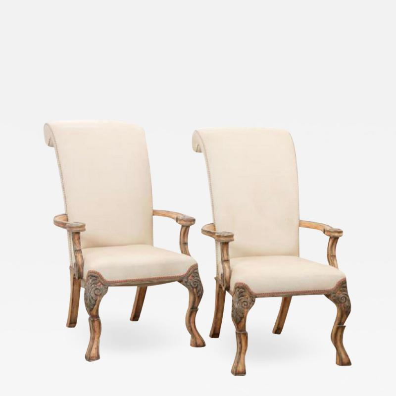 18th C Style Carved Italian Perugian Arm Chairs