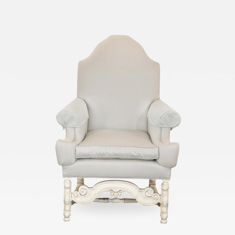 18th C Style Louis XIV Swedish Upholstered Arm Chair