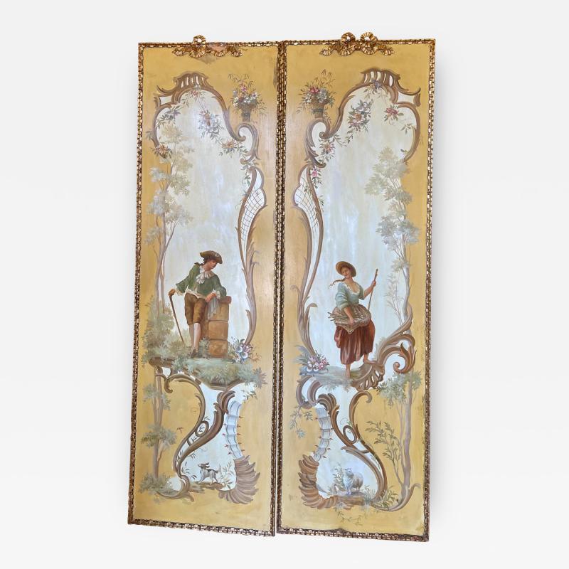 18th C Style Maria Apelo Cruz Venetian Painting Panels Verna Harrah Estate