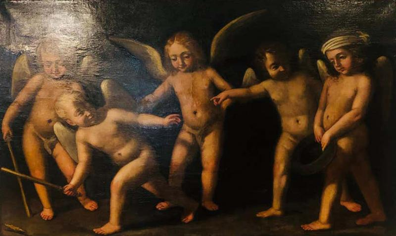 18th Century Alegorial Framed Oil on Canvas Playing Cherubs