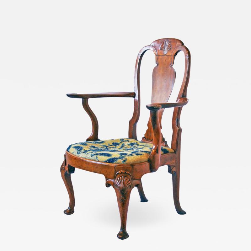 18th Century George I Walnut Armchair