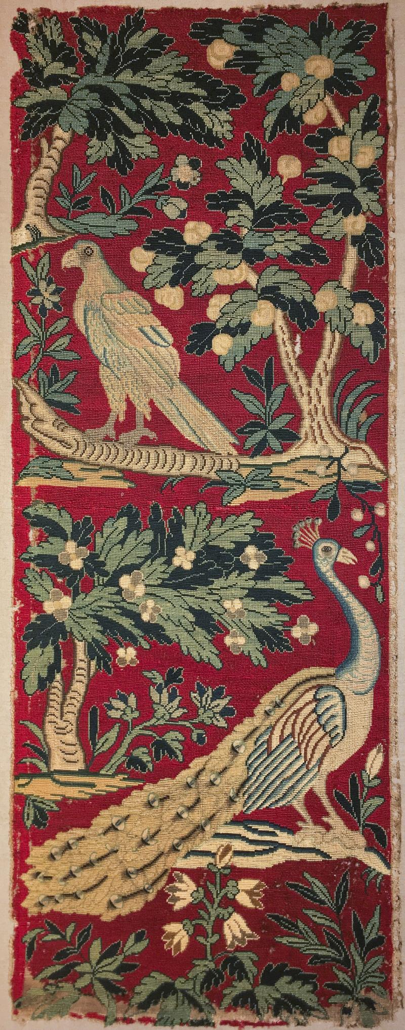 18th Century Needlework Picture with Peacock and Parrot