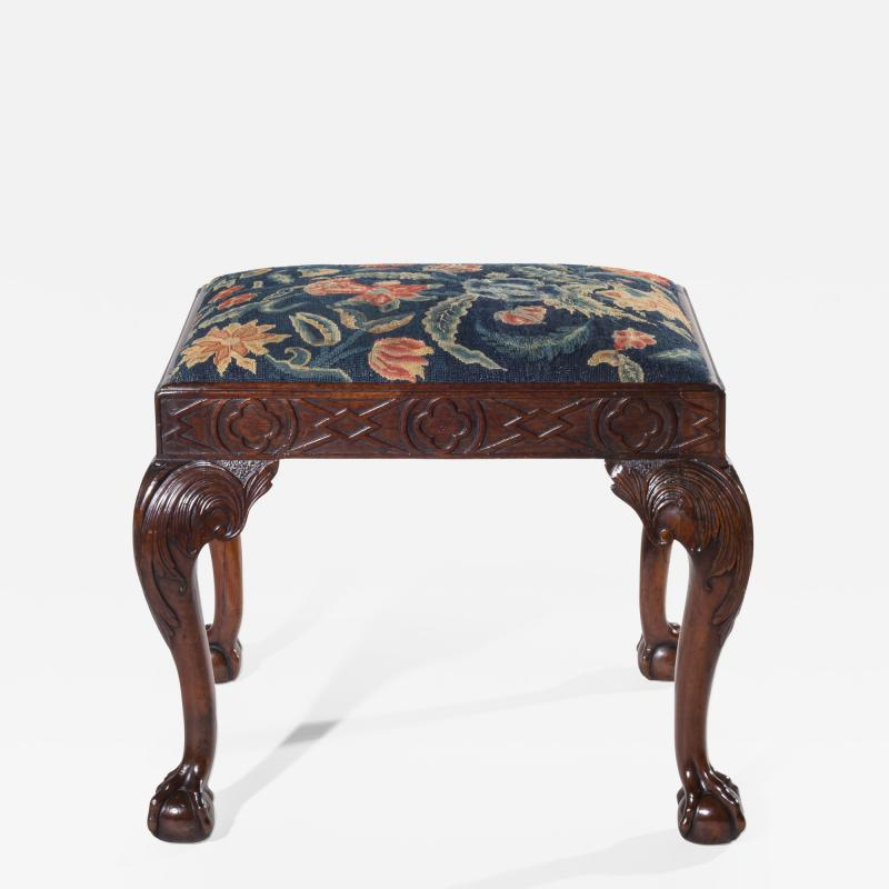 18th Century Queen Anne Walnut Needlepoint Claw Foot Stool