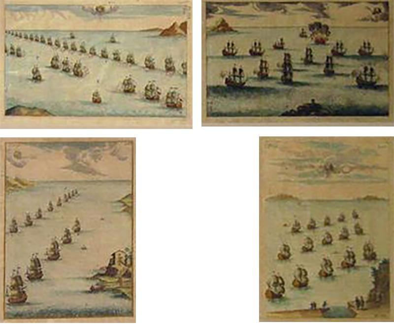 18th Century Set Hand Colored Nautical Engravings Set of Four