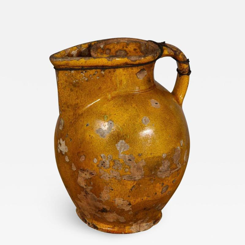 18th Century Yellow Glazed Harvest Pitcher