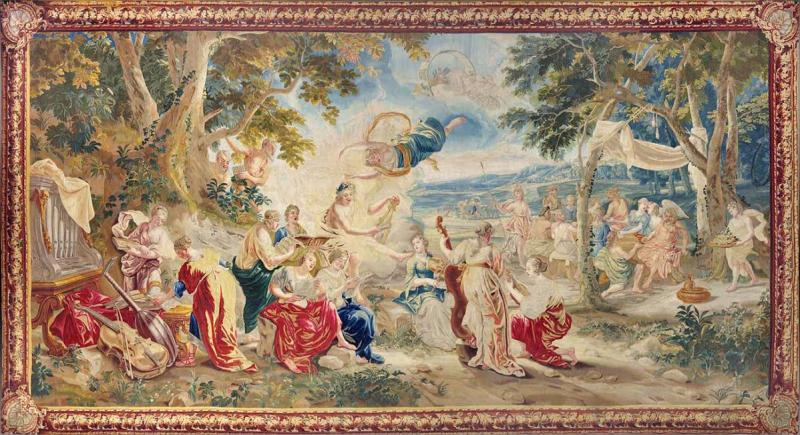 18th Century monumental antique tapestry from Brussels Wedding of Psych