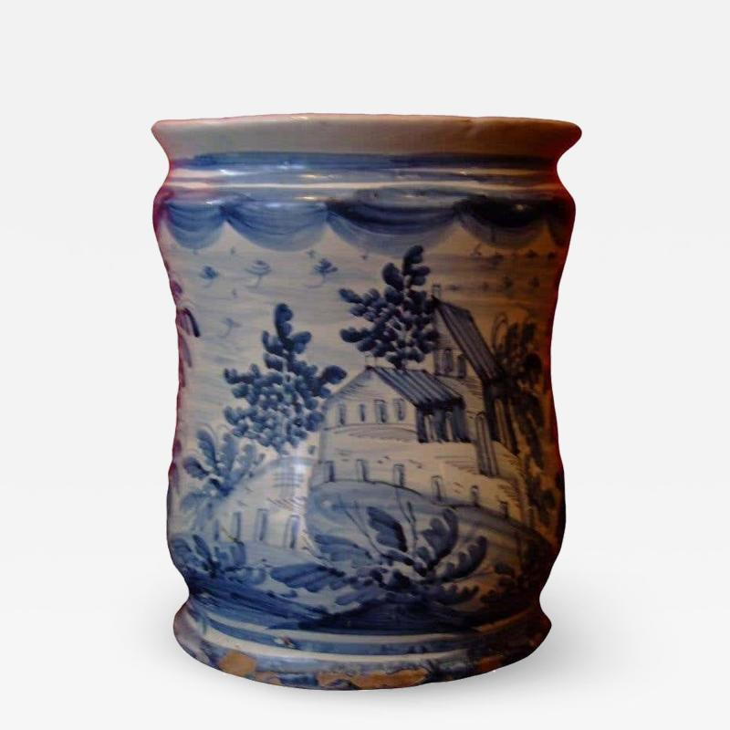 18th c Italian Blue and White Tin Glazed Apothecary Jar