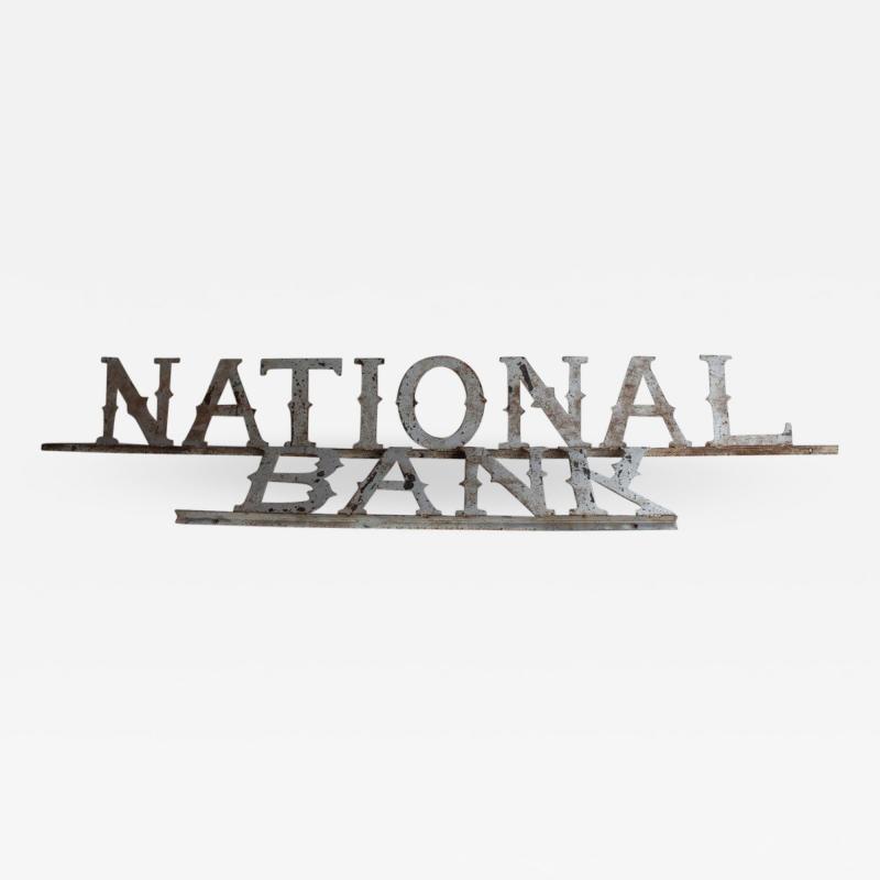1900s Metal NATIONAL BANK Sign