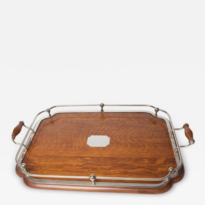 1900s Oak and silver plate tray