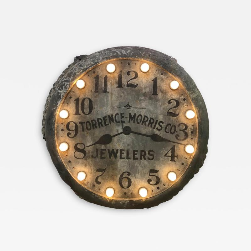 1910s Light Up Double Sided Jewelry Clock Sign