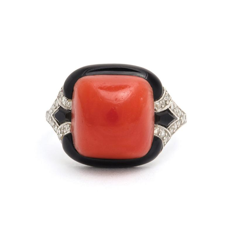 1920s Oxblood Coral Diamond and Enamel Ring