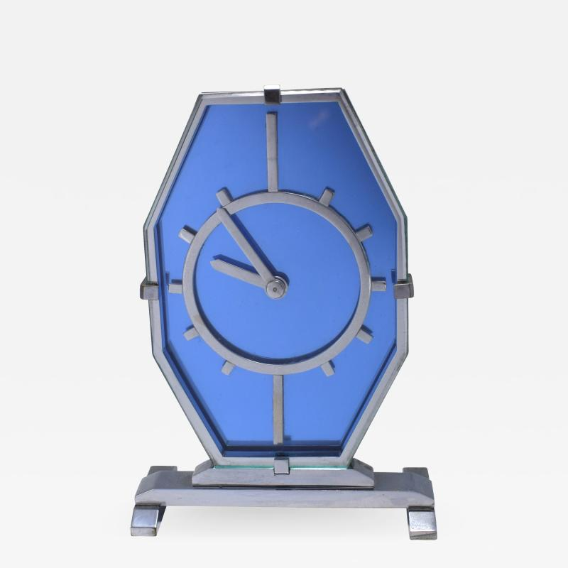 1930s Art Deco Blue Glass and Chrome Modernist Clock
