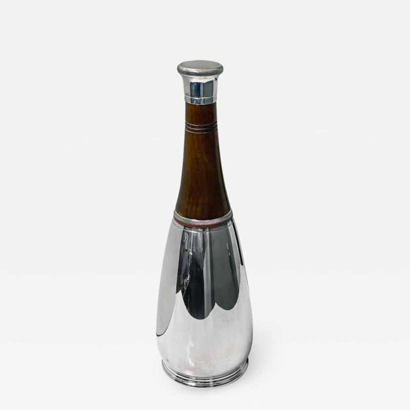 1930s Cocktail Shaker Unusual Wood and Silver Plate Bottle