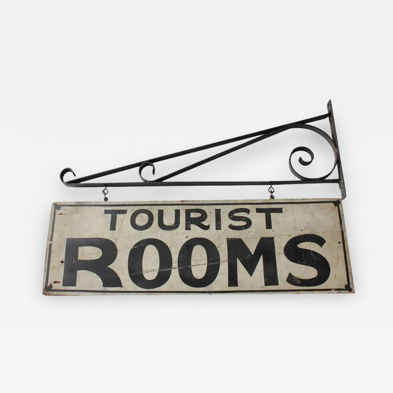 1930s Hand Painted Double Sided Tourist Rooms Sign