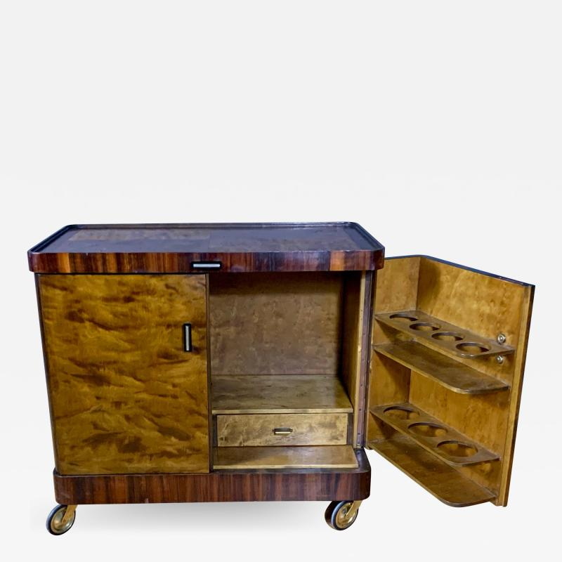 1930s Rootwood Rosewood Bar Cabinet With Intarsia
