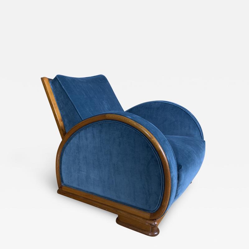 1930s Swedish Elmwood Art Deco Lounge Chair