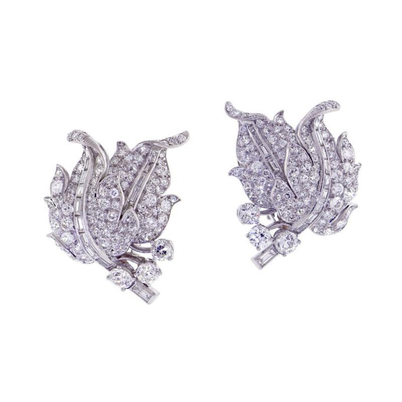 1940s Diamond Leaf Earrings