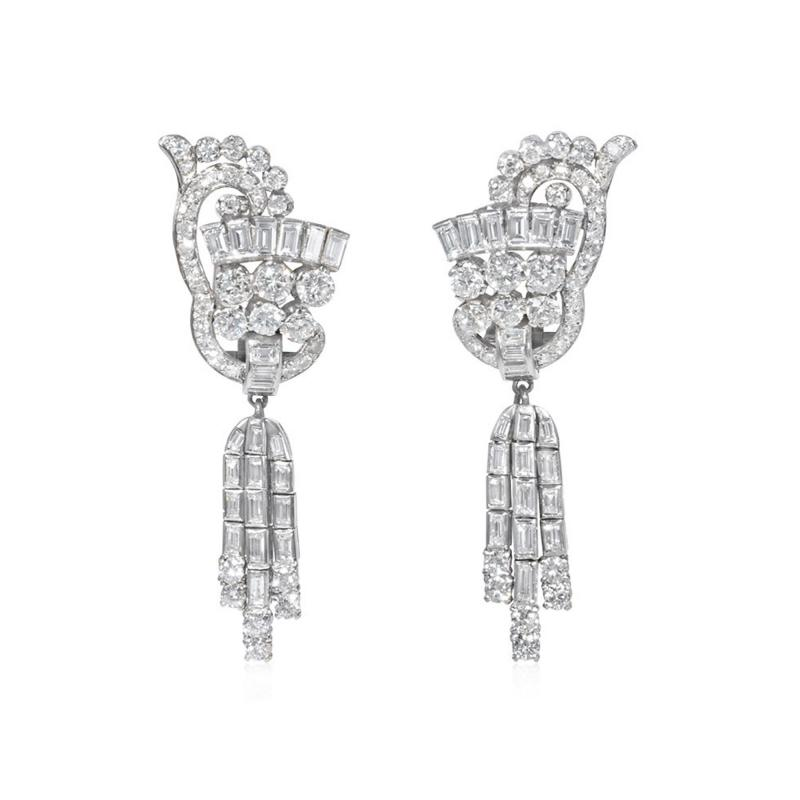 1940s Diamond and Platinum Day to Night Earrings with Removable Pendants
