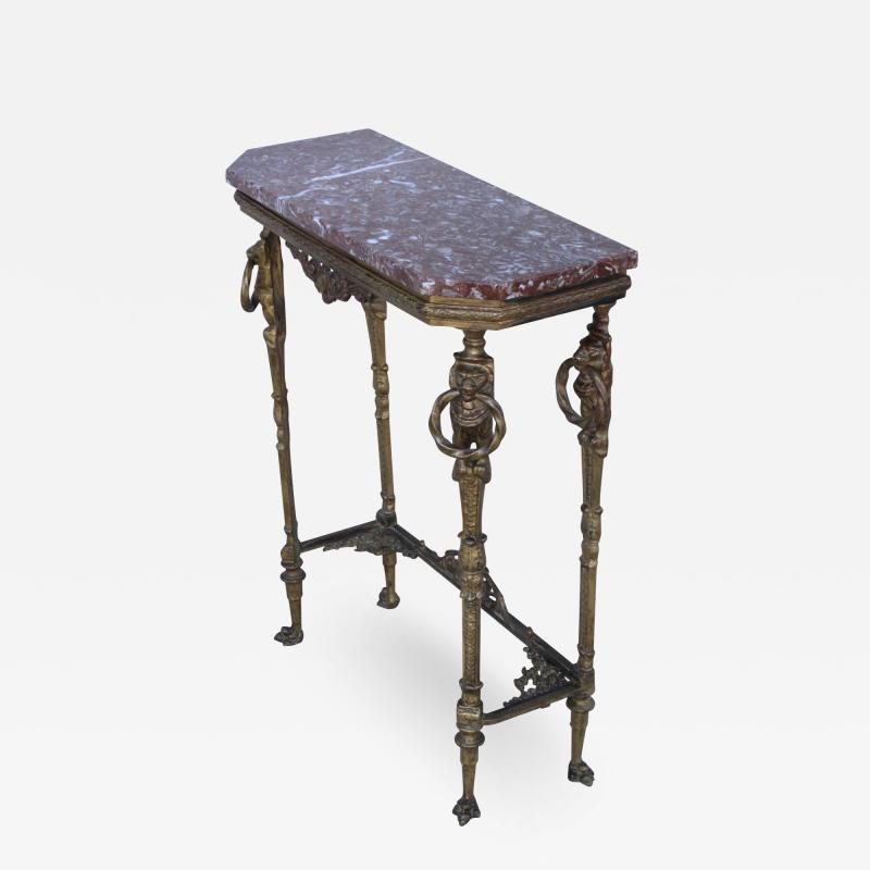 1940s French Bronze And Marble Petite Console