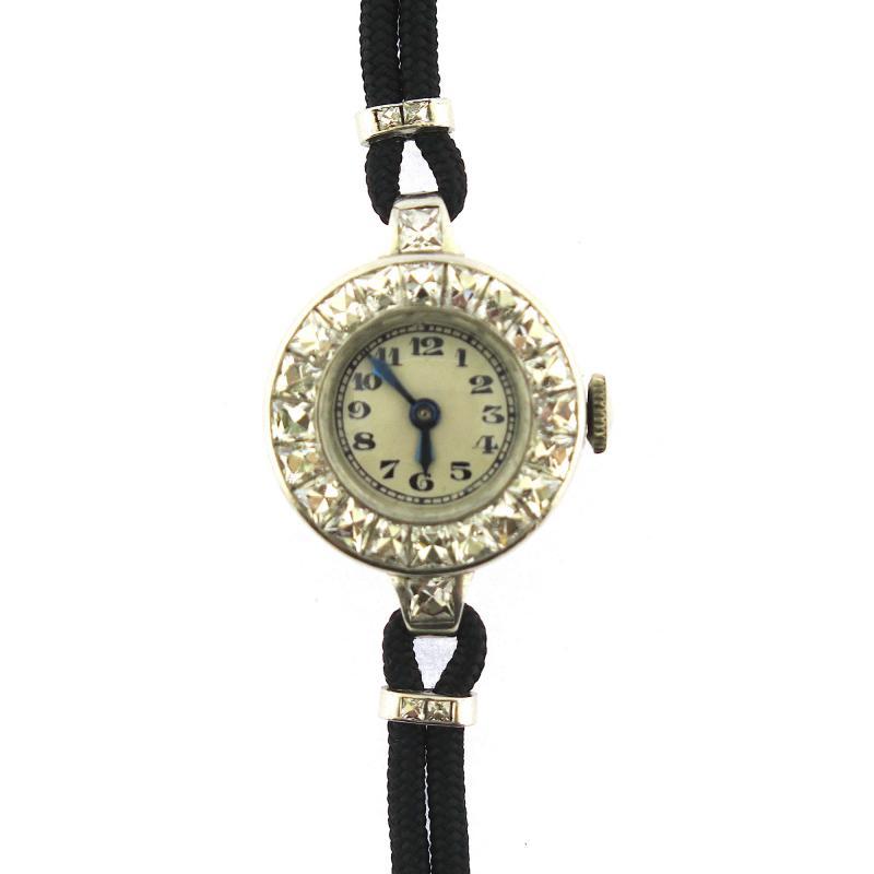 1940s French Cut Diamond Fabric Cord Platinum Watch