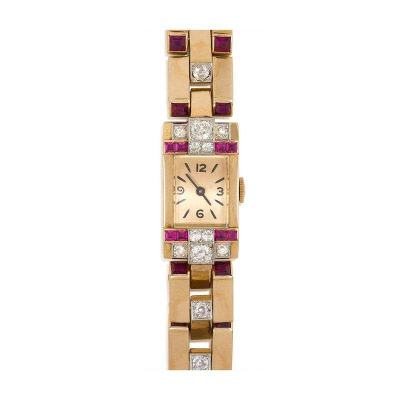 1940s Gold Diamond and Synthetic Ruby Bracelet Watch