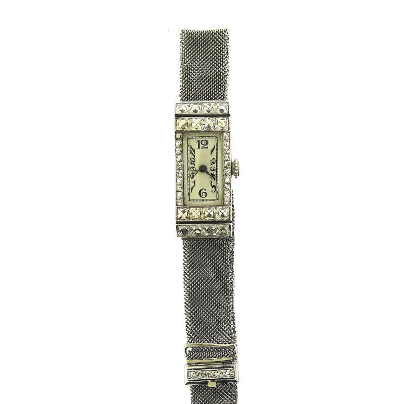 1940s Platinum Mesh Bracelet Watch French Cut Diamonds