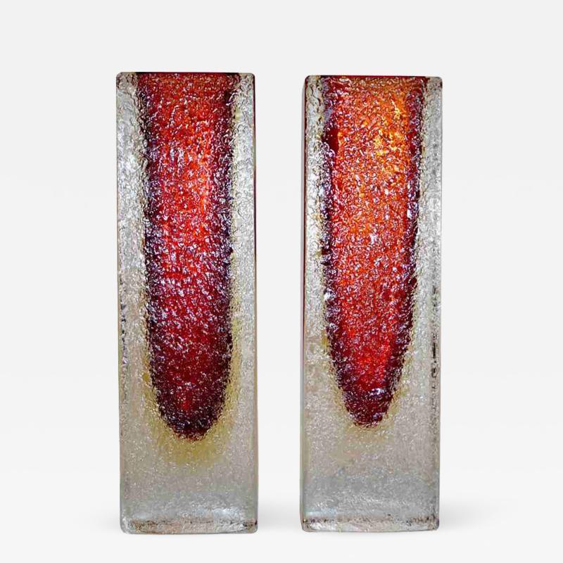 1950 Italian Pair of Organic Crystal Yellow Red Murano Art Glass Flower Vases