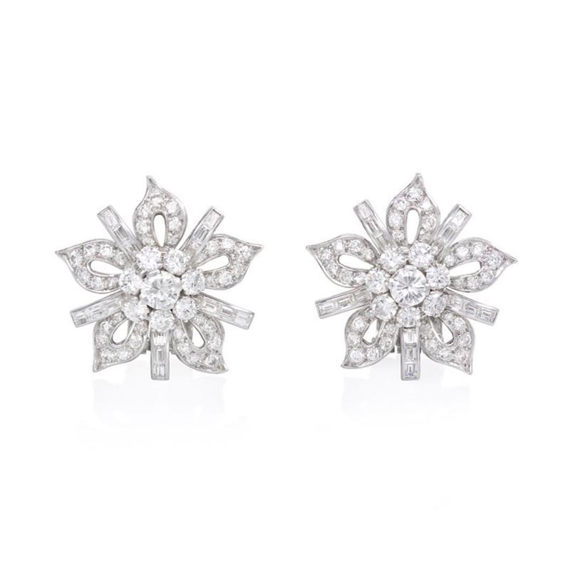 1950s Diamond and Platinum Flower Head Clip Earrings
