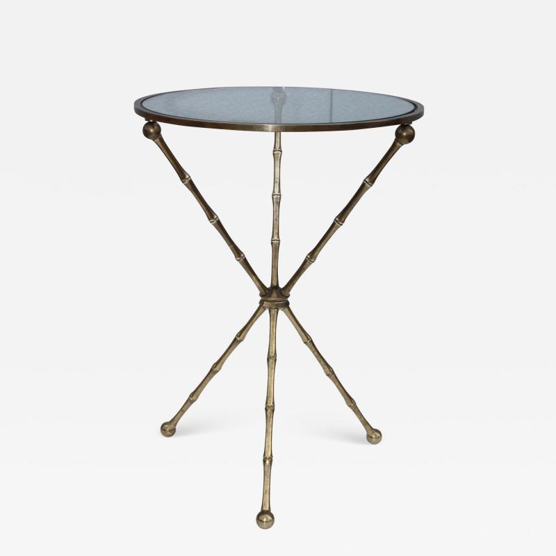 1950s Faux Bamboo Solid Brass Tripod Side Table