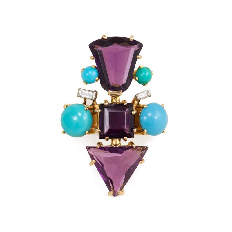 1950s French Gold Fancy Cut Amethyst Turquoise and Diamond Cocktail Ring