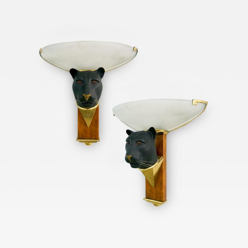 1950s Italian Art Deco Pair of Black Panther Bronze Frosted Glass Wall Lights