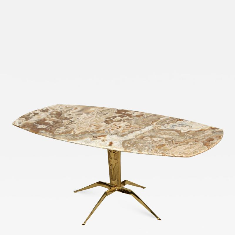1950s Italian Spider Brass Base With Onyx Top Coffee Table