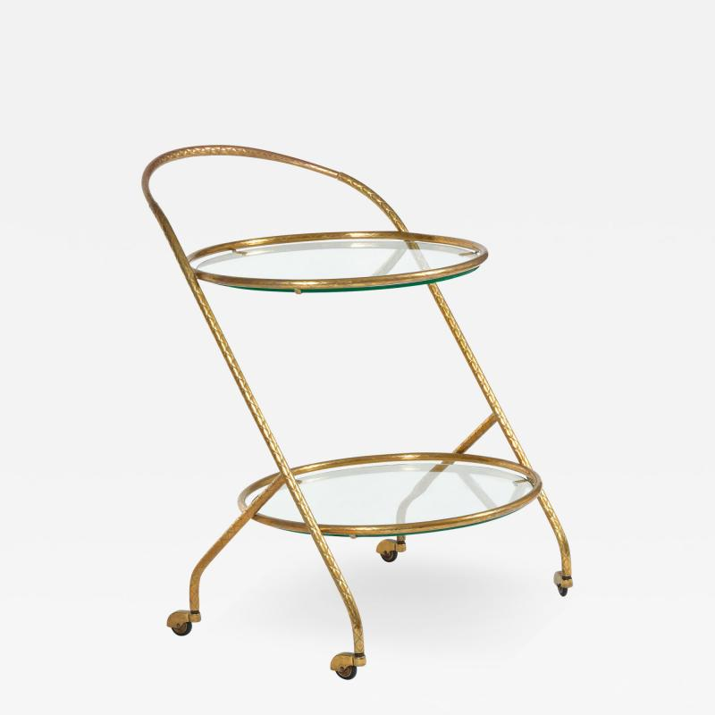 1950s Italian brass circular drinks trolley