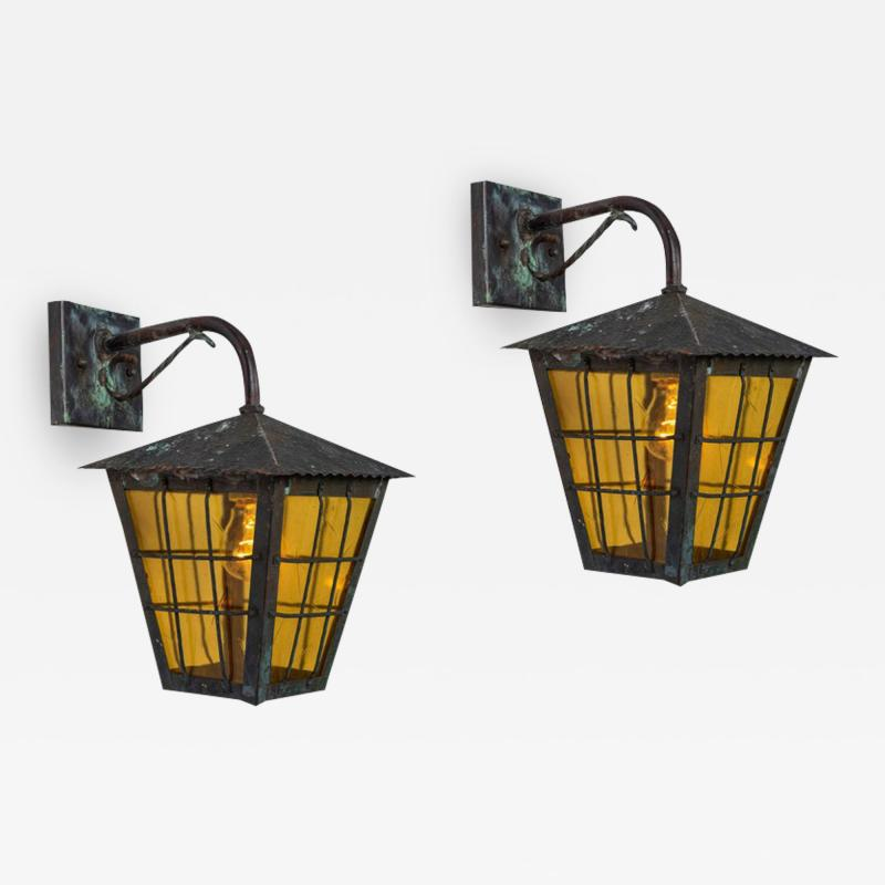 1950s Large Scandinavian Outdoor Wall Lights in Patinated Copper Yellow Glass