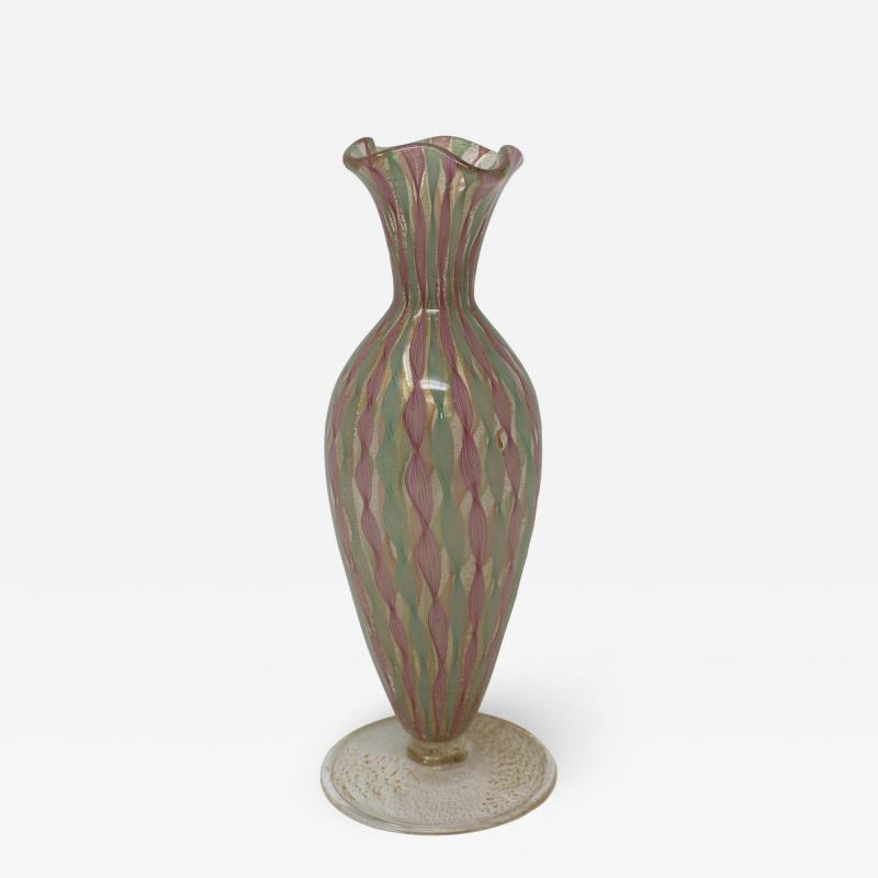 1950s Latticino Miniature Vase