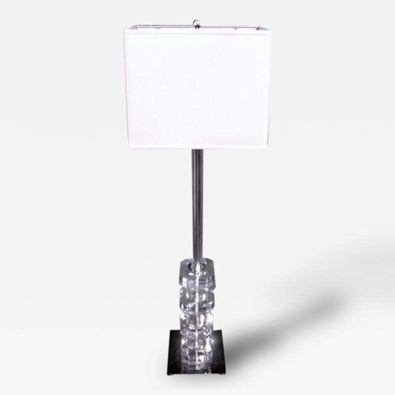 1950s Lucite Mirrored Chrome Lamp