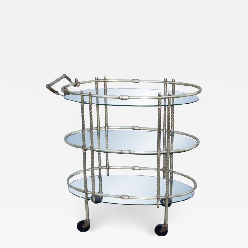 1950s Mid Century Modern 3 Tier Solid Brass Italian Bar Cart