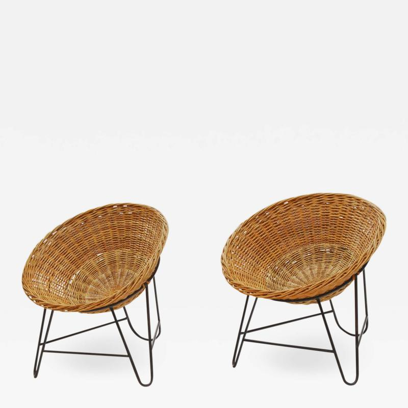 1950s Set of Two French Wicker Chairs