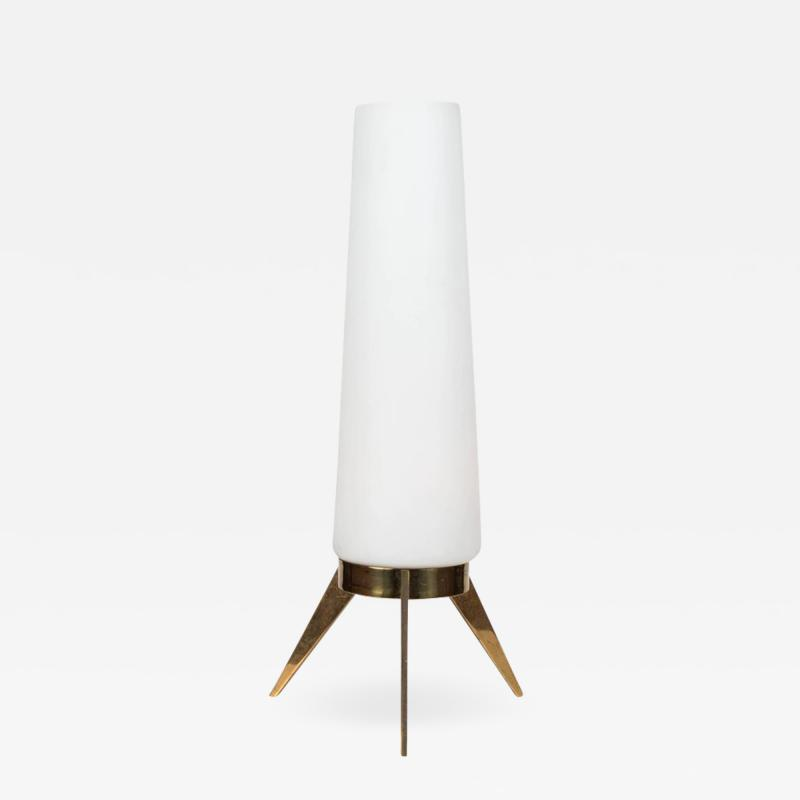 1950s Stilux Milano Glass and Brass Tripod Table Lamp