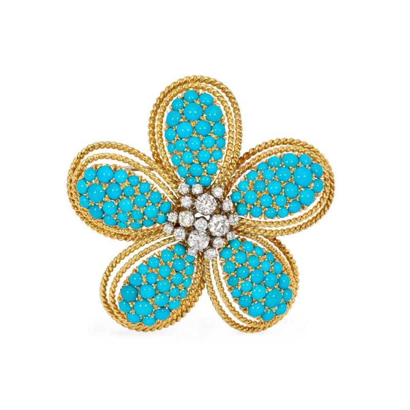 1950s Turquoise and Diamond Flower Brooch Pendant in Gold and Platinum