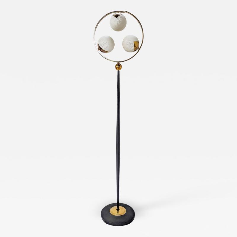 1950s black steel brass and engraved opaline floor lamp