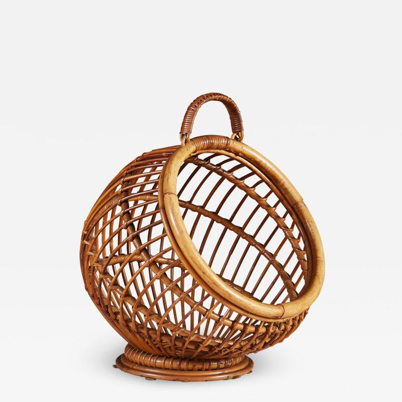 1950s wicker basket with handle