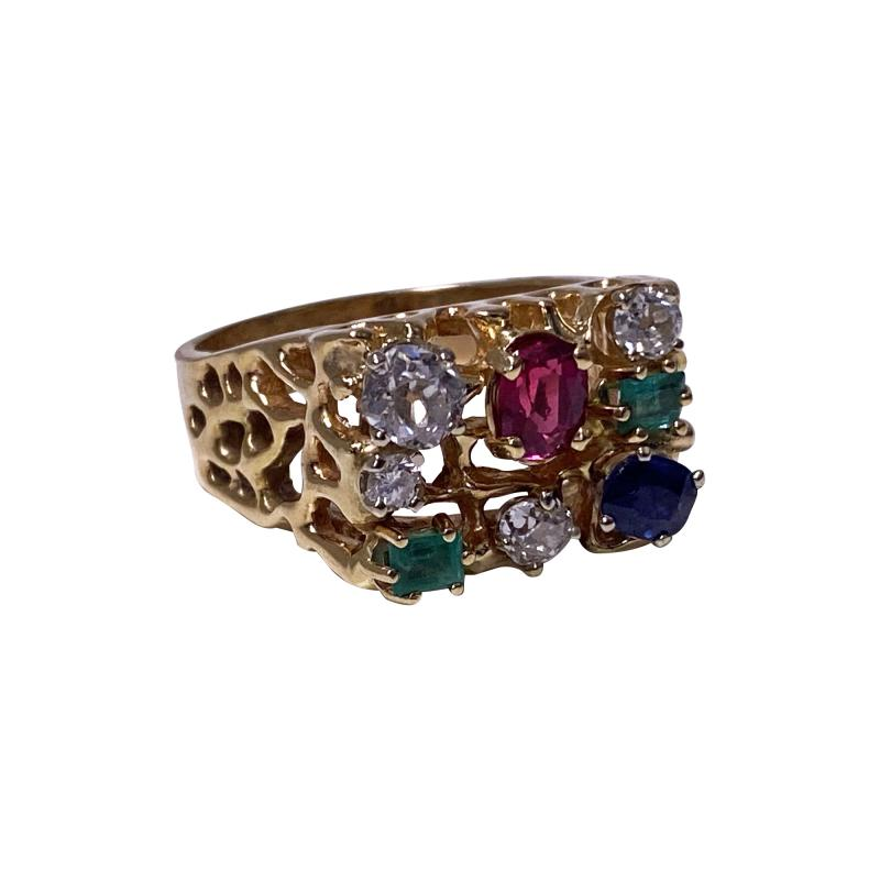 1960 s Gentlemans Gold and Gemstone Ring