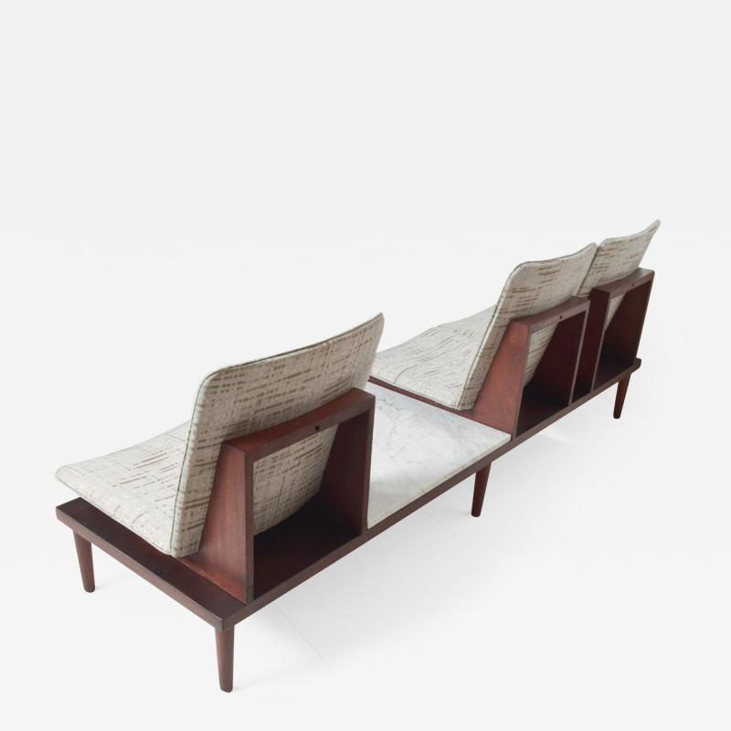 1960s Airport Seating SOFA Bench in Mahogany Marble by Pedro Ramirez Vasquez