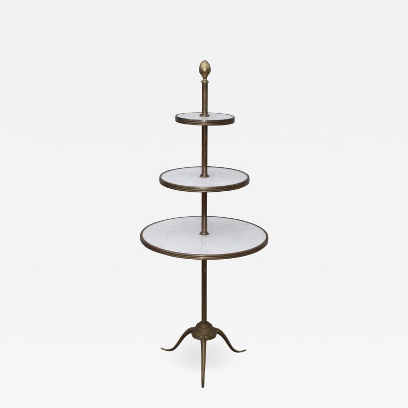 1960s Brass And Carrara Marble 3 Tier Display Shelf