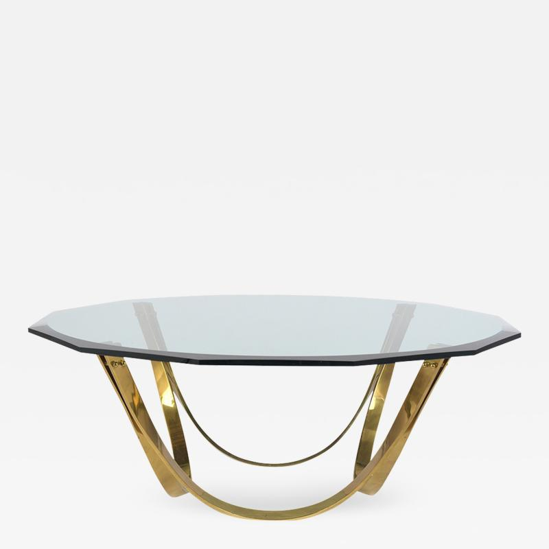 1960s Brass and Glass Coffee Table by Roger Sprunger Produce by Dunbar